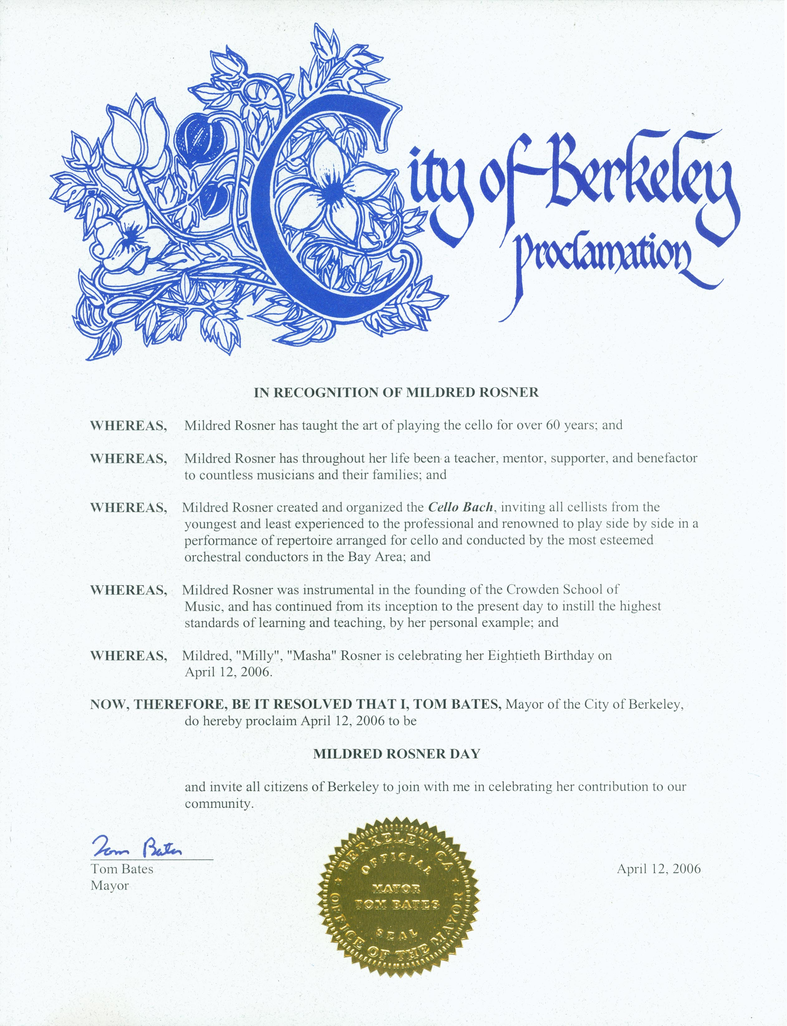 2006 City of Berkeley Proclamation